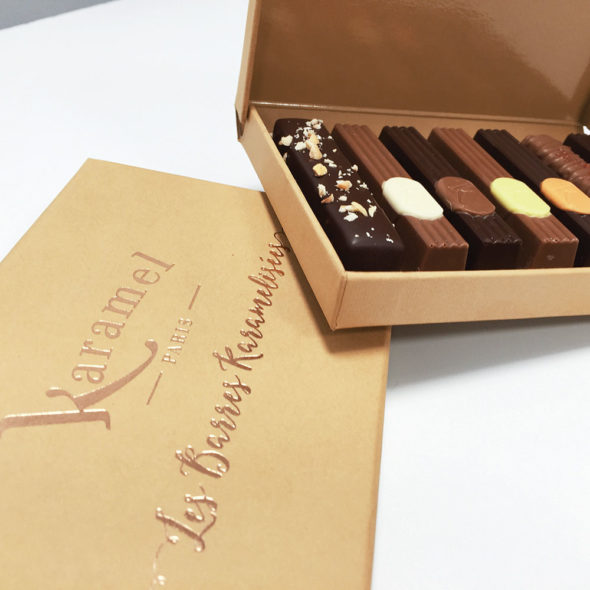 boites 7 barres caramelisées marron