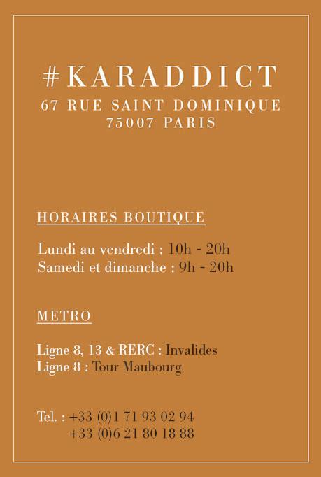 horaire boutique karamel Paris automne hiver 2018 2019